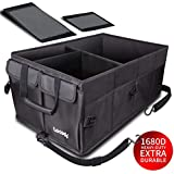 Lecedo Car Trunk Organizer, Collapsible Multi Compartments Trunk Organizer for Car/Truck / SUV/Van with Straps