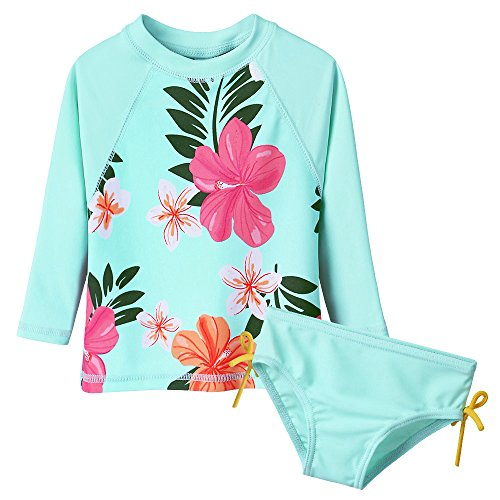 Toddler/Baby Girls Rash Guard Swimsuit Long Sleeve 2 Piece Swim Bottoms Set UPF 50+ 3-4T Cyan
