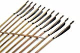 AF 450-550sp Turkey Feather Fletching Bamboo Target Arrows for Archery Recurve Bow(Black&White, 500sp)