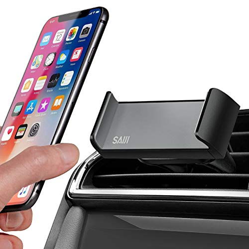 Saiji Cell Phone Holder for Car Vent, Secured Dual Clamp Grip, 360° Rotation, Universal Cell Phone Stand Compatible with 4.7-6 Inch iPhone, Samsung, Motorola, LG, Huawei, ZTE Smartphones (Black) ()