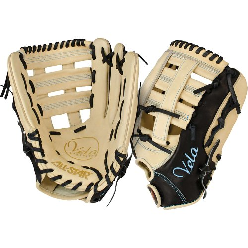 New All Star Vela Glove FGSBV 12.5'' Fastpitch Softball LHT Black/Tan by All Star