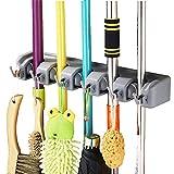 Jinberry Multi-Function Wall Mounted Mop Brush Broom Storage Rack Holder Hooks - 5 Position 6 Hooks