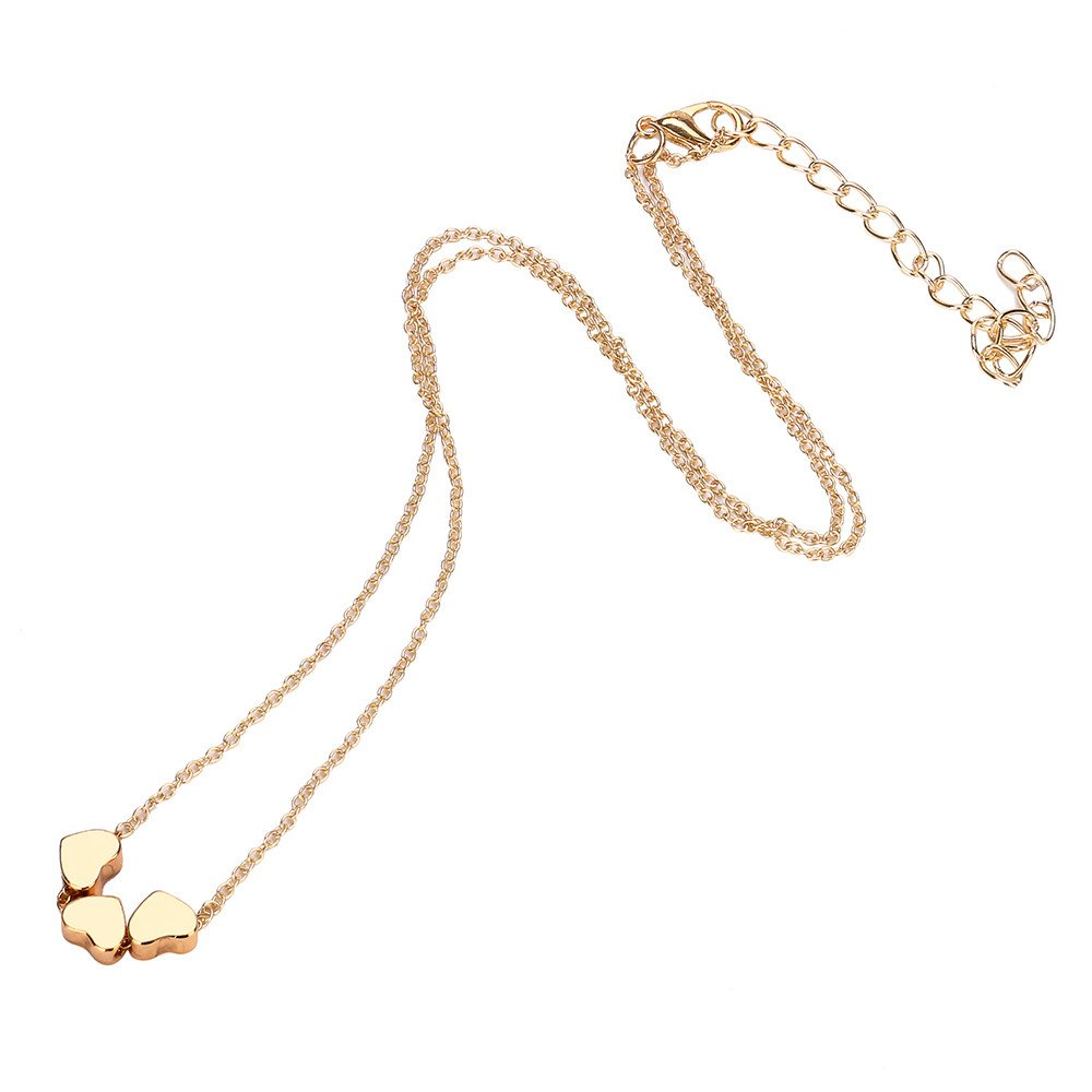 WENSY Fashion necklaces Three love heart necklaces Beauty Charm Women Stainless Steel Pendant Chain Necklace