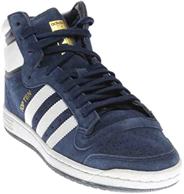 buy online 8075b 39b8b adidas Originals Men s top Ten hi Running Shoe, White Collegiate Navy, ...