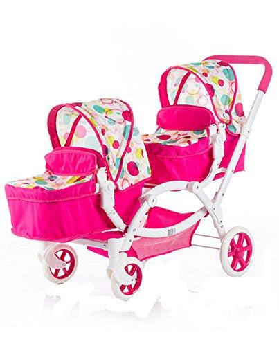 Chipolino KZKN01701RA Nia Raspberry Doll Double Stroller