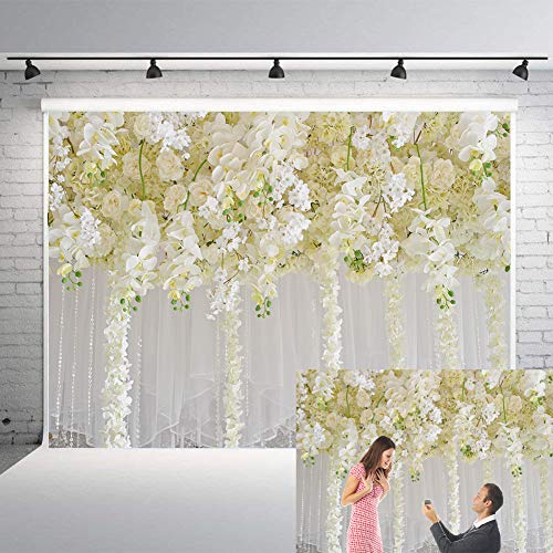 Luxury Bridal Flower Wall Backdrop Wedding White Curtain Flower Reception Ceremony Photography Background Photo Wedding Birthday Carnival Party Girls Birtday Party GYA-flower014-7x5FT