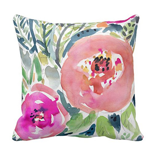 Emvency Throw Pillow Cover Colorful Bohemian Peach Floral Bo