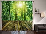 Kitchen Window Treatments Modern Ambesonne Asia Tropical Decor Collection, Wooden Area and Asian Bamboo Forest with Sunlight Landscape Picture, Window Treatments, Living Girls Room Curtain 2 Panels Set, 108 X 84 Inches, Green Olive