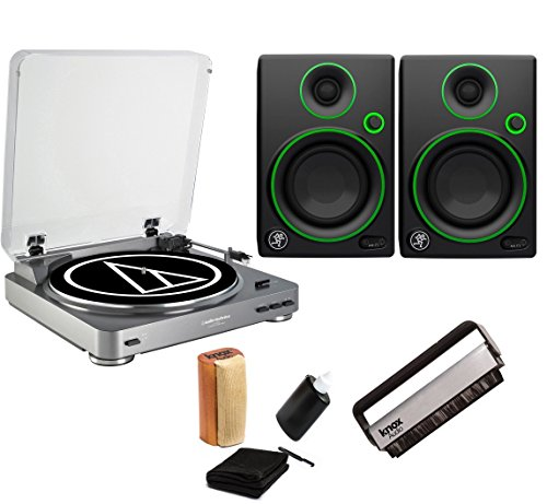 Audio-Technica AT-LP60 Turntable with Mackie CR3 Monitors & Knox Cleaning Kit (Kit Stereo Preamplifier)