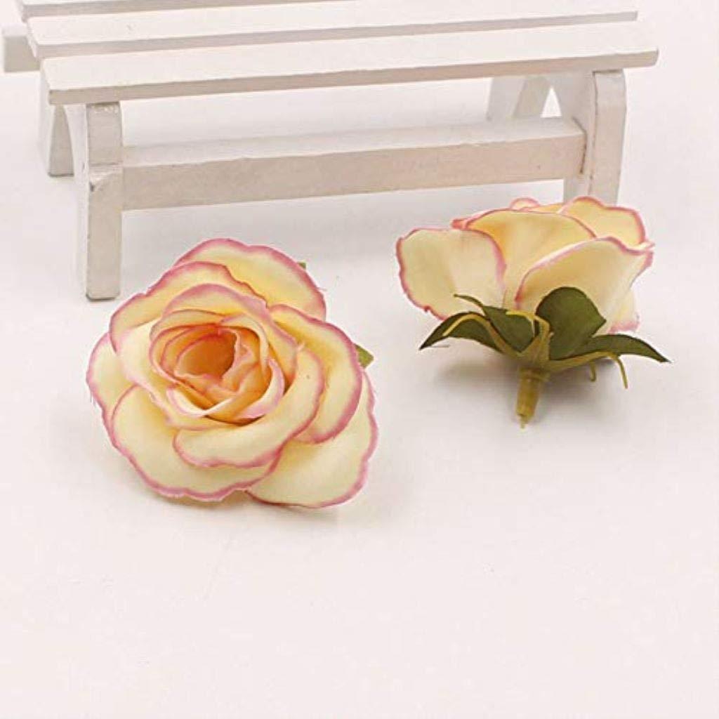 PPL21 ミニ造花 バラの花の頭 10個入り マルチカラー シルクフラワー 自宅 庭 結婚式 記念日に P B07HDFN5WS 6