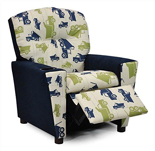 Kidz World Toy Truck Felix Kid's Recliner with Cup Holder, Navy Suede ()