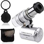 KINGMAS Mini 60x LED UV Light Pocket Microscope Jeweler Currency Magnifier Adjustable Loupe