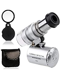 KINGMAS Mini 60x Microscope Magnifying with LED UV Light Pocket Jewelry Magnifier Jeweler Loupe with 10X Folding Pocket Magnifier