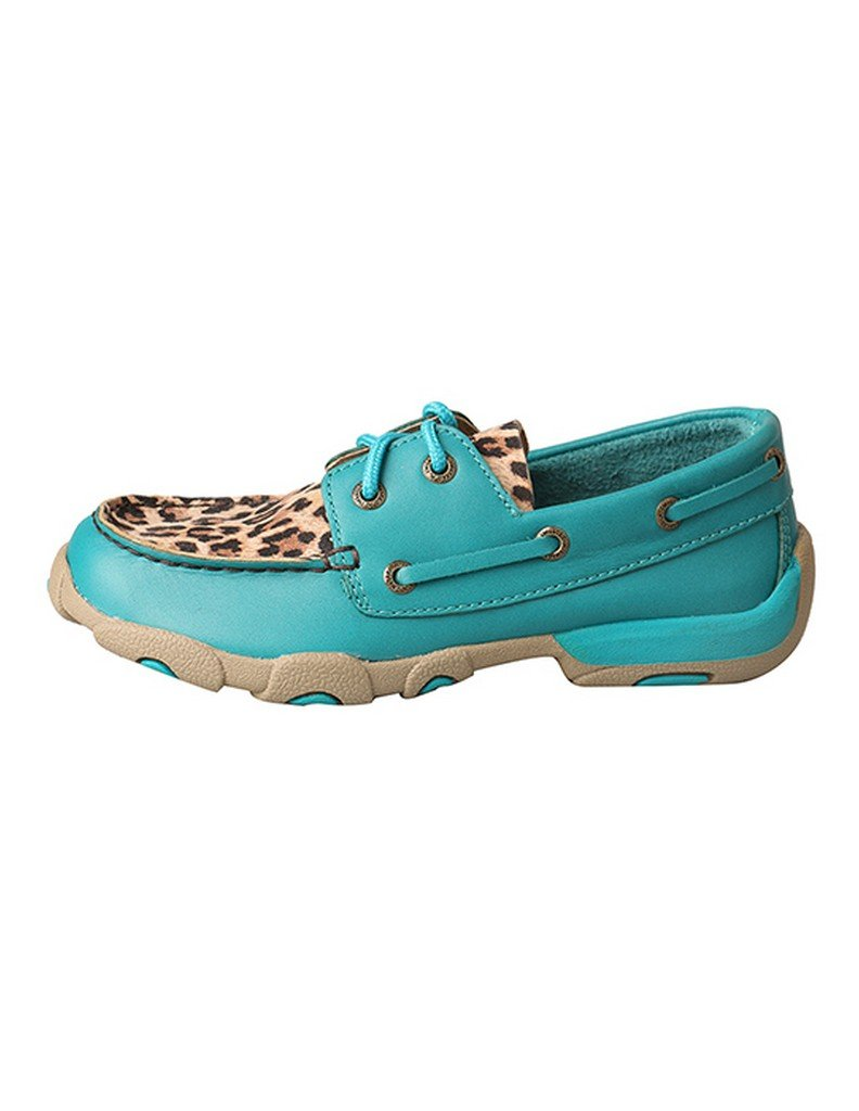 Twisted X Kid's Driving Moccasins - Turquoise/Leopard (3) by Twisted X (Image #3)