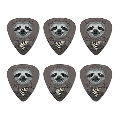 Cute Sloth Face Novelty Guitar Picks Medium Gauge - Set of 6