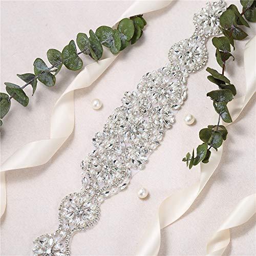 FENGZHITAO DIY Rhinestone-Rhinestone-Appliques-Blush-Silver-Squin-Pearl-Beaded-Trim-Bridal-Belts for Wedding-Dress-Sashes or Bridesmaid