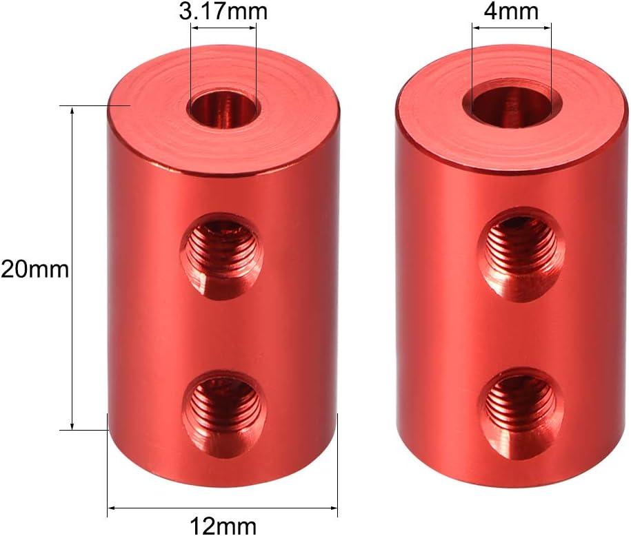 sourcing map Welle Kupplung Roboter Motor Rad Starre Koppler Rot 3mm zu 6mm Bohrung L20xD12