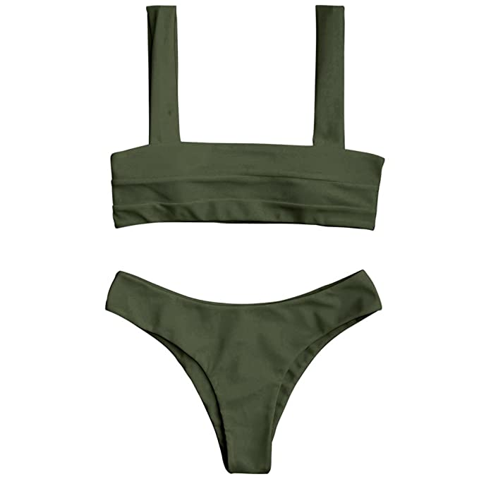 5dd1dd6c8fc GAMISS Women's Bandeau Square Neck Bikini Set Candy Color Basic Style Two  Piece Swimsuit(Green-M)