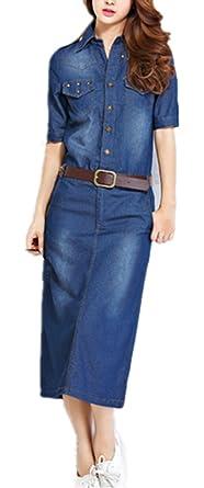 Foluton Damen Elegant Jeanskleid V Ausschnitt Revers Lang Hemd