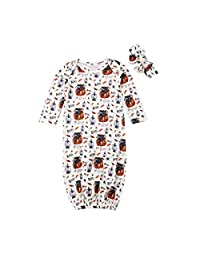 MEILI-DIRECT Infant Baby Boy Girl Halloween Costums Robe Long Sleeve Pumpkin Soft Cotton Sleep Gowns Sleeper Robes