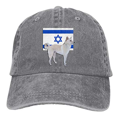 Unisex Canaan Dog of Israel Vintage Chic Denim Adjustable Dad Hats Baseball Cap Gray