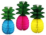 Multi-colored Large 13 Inch Honeycomb Pineapple Decorations with Green Leaves (Turquoise, Cerise, Yellow)