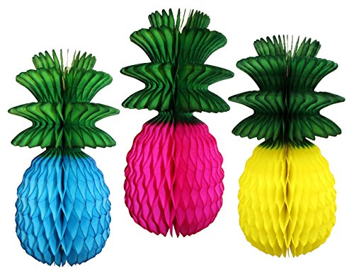 3-Piece Rainbow Luau Themed Large 13 Inch Honeycomb Pineapple Decoration (Turquoise, Cerise, Yellow with Green -