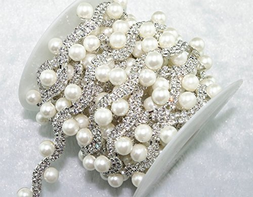 1 Yard 2 Rows 3mm Clear Crystal and Pearl Rhinestone Close Trims Silver Cup Chain Wedding Cake Decoration LZ57