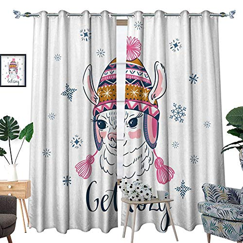 longbuyer Drapes panelsHand Drawn Vector Illustration with Portrait of The Alpaca in a Knitted Ornamental Cap Print for t-Shirt Design or Greeting Card W84 x L108 Drapes