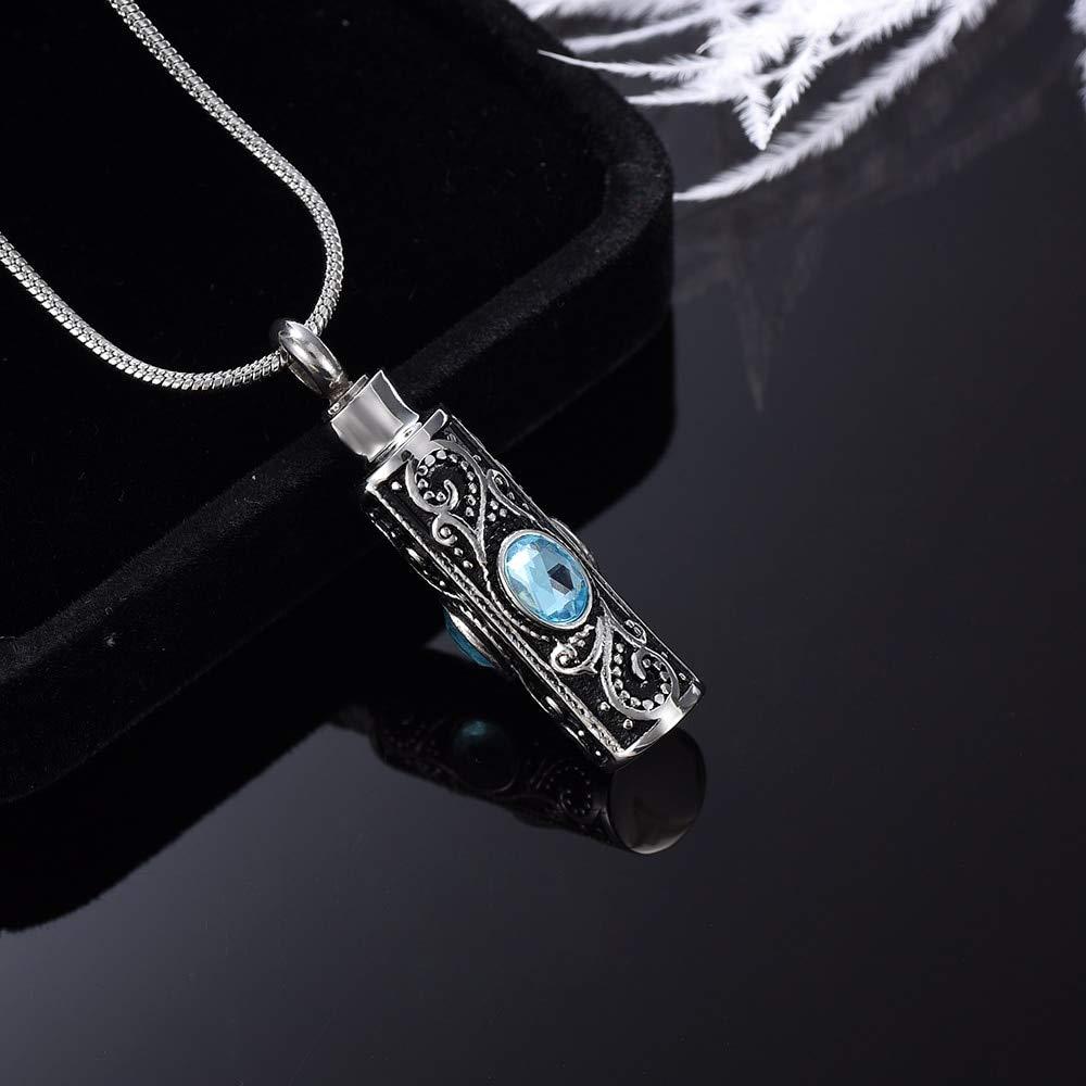 Davitu Red Rhinestone Cylinder Urns Stainless Steel Cremation Urns Necklace for Human Ashes Keepsake Urn Metal Color: Light Blue, Main Stone Color: 2 Pendant
