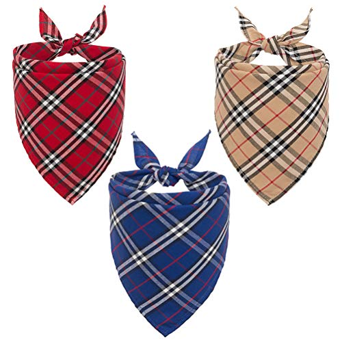 - PUPTECK 3pcs Dog Bandana Plaid - Washable Reversible Triangle Bibs Scarfs Accessories - Classic Design for Dogs and Cats - Cream, Blue, Red