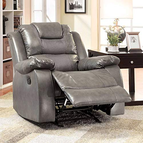 - Benzara BM166021 Upholstered Leatherette Glider Recliner Chair, Gray