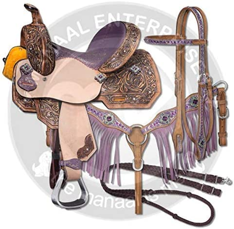 Breast Collar Size 14-18 Inches Seat Available Reins RAJ INTERNATIONAL Premium Leather Western Barrel Racing Adult Horse Saddle Tack Free Matching Leather Headstall