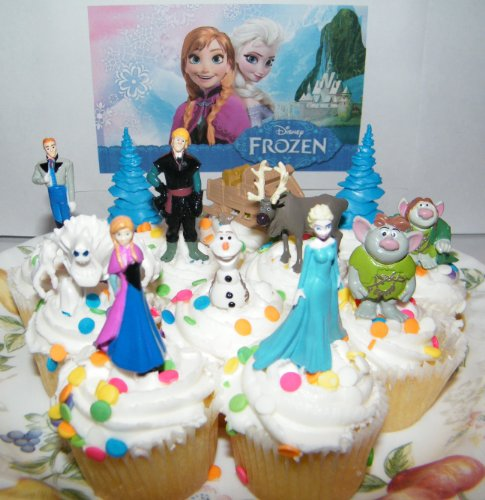 Disney Frozen Movie Figure Deluxe Cake Toppers / Cupcake Party Favor Decorations Set of 12 with Anna, Elsa the Snow Queen, Olaf, Reindeer, Ice Sled, Trees, Snow Monster, Trolls and More!
