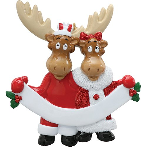 Personalized Moose Family of 2 Christmas Tree Ornament 2019 - Couple Sibling Friend Deer Elks Santa Attire Hold Ribbon Cute First Winter 1st Holiday Tradition Year - Free Customization (Two)