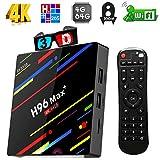 4G 64GB TV Box, Yongf H96 Max+ Android 8.1 Smart Tv Box RK3328 Quad-Core 64bit Cortex-A53 4 GB 64G Gift Box Penta-Core Mali-450 up to 750Mhz+ Full HD/H.265 / Dual WiFi Smart Set Top Box with Remote