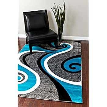 Amazon Com 0327 Turquoise White Gray Black 5 2x7 2 Area