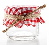 Nakpunar-6-pcs-Red-and-White-Gingham-Fabric-Jar-Covers-with-Hemp-Twine