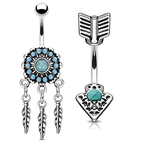 MoBody 2 Piece Dangle Belly Button Rings Set 316L Surgical Steel Curved Navel Barbell Piercing Jewelry ()
