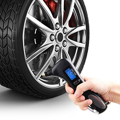 MINGLI Digital Tire Pressure Gauge Flashlight Tire Gauge Emergency Tool Tire Nozzle Seat-belt Cutter Glass Hammer White LED Flashlight and LED Light 5 in 1 Tool for All Car