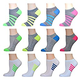 AirStep Women\'s No Show Athletic Socks - 12 Pack 16119-Multi Sock Size: 9-11 Fits Shoe: 4-10
