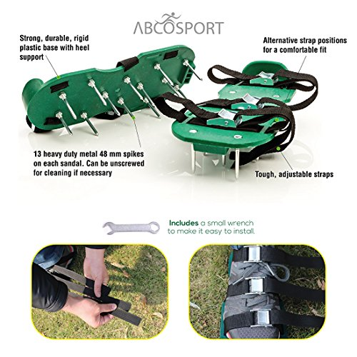 Lawn Aerator Spike Shoes – For Effectively Aerating Lawn Soil – Comes with 3 Adjustable Straps with Metallic Buckles – Universal Size that Fits all – For a Greener and Healthier Garden or Yard. by Abco Tech (Image #2)