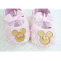 Baby Girl's Pink Rosette Soft Shoes, Gold Minnie Mouse Inspired Crib Footwear, 1st Birthday, Cake Smash, Photo Prop, Kids Fashions, Size 6-18 mos, Made in the USA.