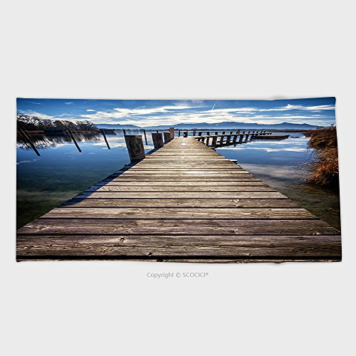 27.5W x 11.8L Inches Custom Cotton Microfiber Ultra Soft Hand Towel Old Wooden Jetty At The Chiemsee Lake In Bavaria 227980105