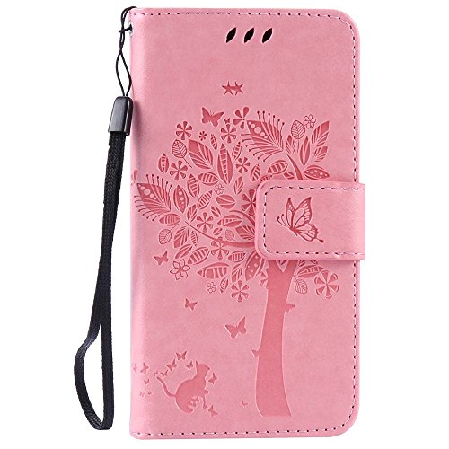 Samsung Galaxy A3 Case, C-Super Mall Embossed Tree Cat Butterfly Pattern PU Leather Wallet Stand Flip Case for Samsung Galaxy A3 SM-A300F / SM-A300FU(Old Version 2014 Launch Only)(pink)