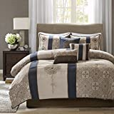 Blue King Size Comforter Madison Park Donovan King Size Bed Comforter Set Bed in A Bag - Taupe, Navy, Jacquard Pattern – 7 Pieces Bedding Sets – Ultra Soft Microfiber Bedroom Comforters