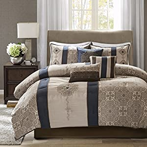 Madison Park Comforter Faux Silk-Traditional Luxurious Jacquard Design All Season Set, Matching Bed Skirt, Decorative…
