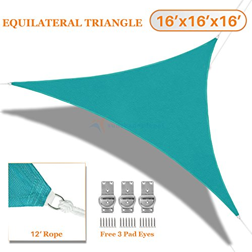 Sunshades Depot 16' x 16' x 16' Turquoise Green Sun Shade Sail Equilateral Triangle Permeable Canopy Custom Size Available Commercial Standard 180 GSM HDPE (Sail Canopy Sunshade)