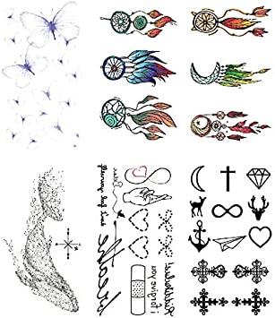 Oottati 6 Hojas Pequeño Lindo Tatuaje Temporal Tattoo Azul ...