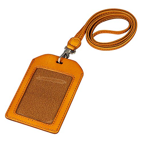 JayTong Genuine Leather ID Card Badge Holder with Heavy Duty Lanyard Vertical Style (Tan)